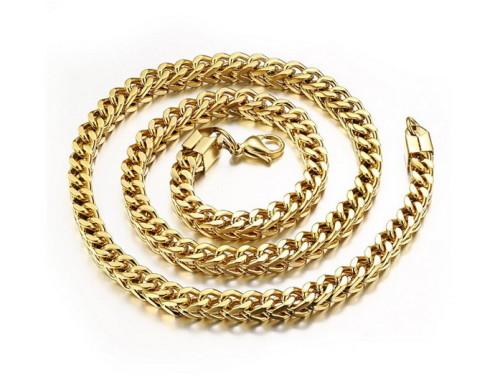 Мужская позолоченная цепь из ювелирной стали (60 см.)