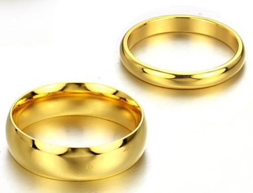Позолоченные парные кольца из ювелирной стали