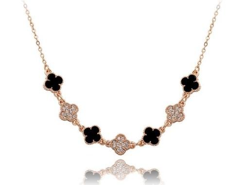 Ожерелье с Австрийскими кристаллами и чёрной эмалью