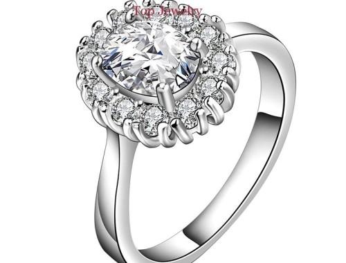 Белое кольцо с круглым фианитом