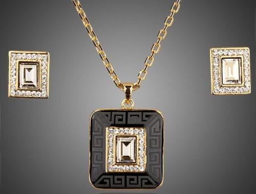 Женский комплект серьги и кулон с эмалью и Австрийскими кристаллами
