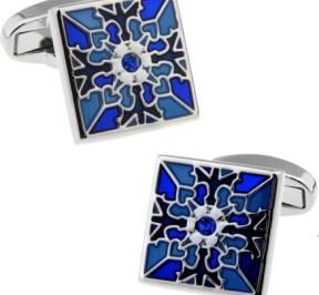 Синие стальные запонки