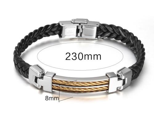 Мужской кожаный браслет со вставкой из стали