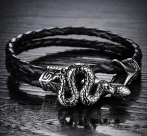 Кожаный браслет со змеёй