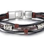 коричнево-чёрный кожаный браслет