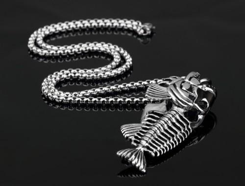 Кулон скелет рыбы на крючке