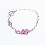 Женский браслет с розовой эмалью