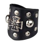 Чёрное кольцо из кожи с крестом