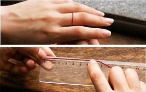 Размер кольца нитью