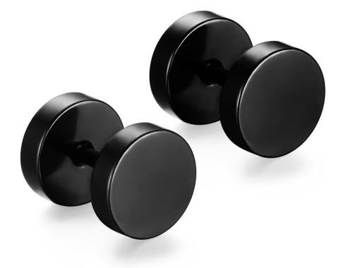Круглые чёрные мужские серьги