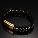 кожаный браслет с цепочкой