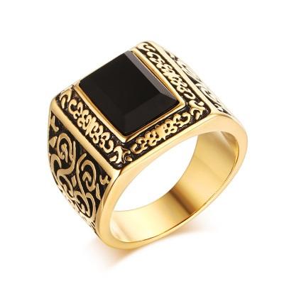позолоченный перстень с агатом
