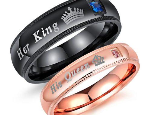 """Парные кольца """"её король"""", """"его королева"""""""