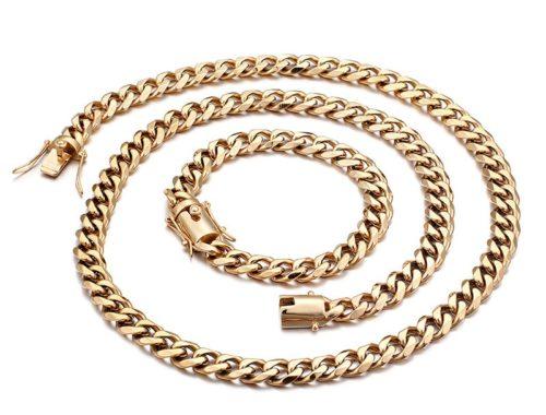 Комплект мужская цепочка и браслет с позолотой