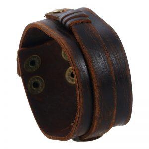 Широкий кожаный браслет