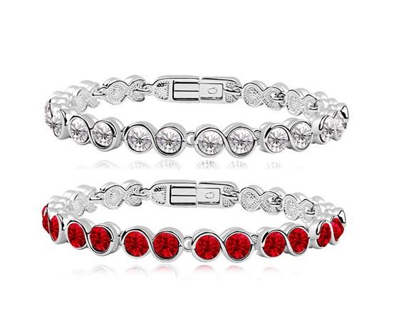 Женский браслет с красными кристаллами Сваровски
