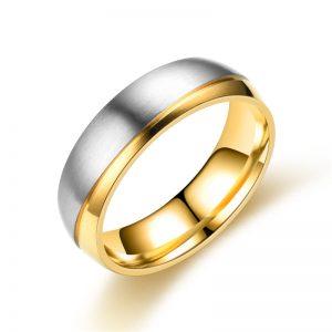 Парные кольца сталь с позолотой