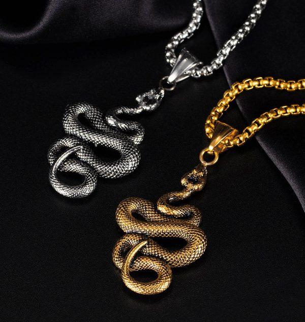 Кулон змея из стали