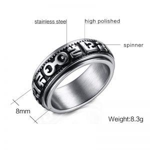 Стальное кольцо с тибетской мантрой